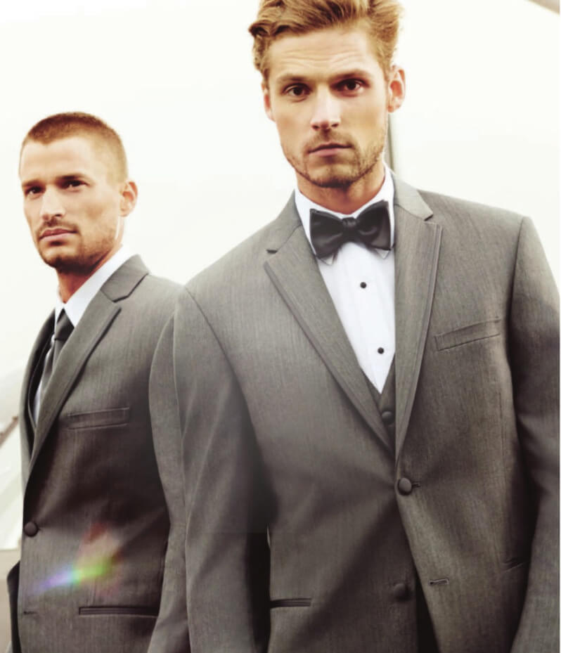Male models wearing gray tuxedos